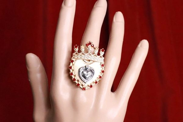 8293 Baroque Sacred Heart Crown Cocktail Adjustable Ring