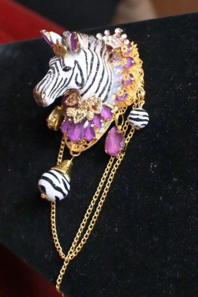 SOLD! 8296 Baroque Hand Painted Vivid Zebra Purple Animal Brooch