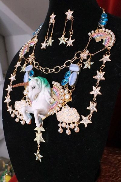 SOLD! 8297 Set Of Art Jewelry 3D Effect Unicorn Genuine Lace Agate Topaz Necklace+ Earrings