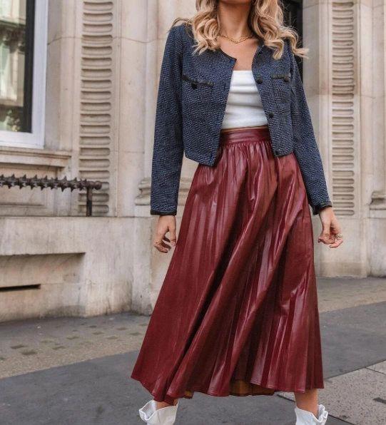 8303 Runway 2021 Maroon Eco Leather PU Pleated Midi Skirt