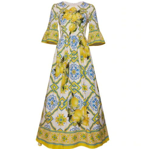 8306 Runway 2021 Designer Lemon Tile Print Midi Silky Touch Dress