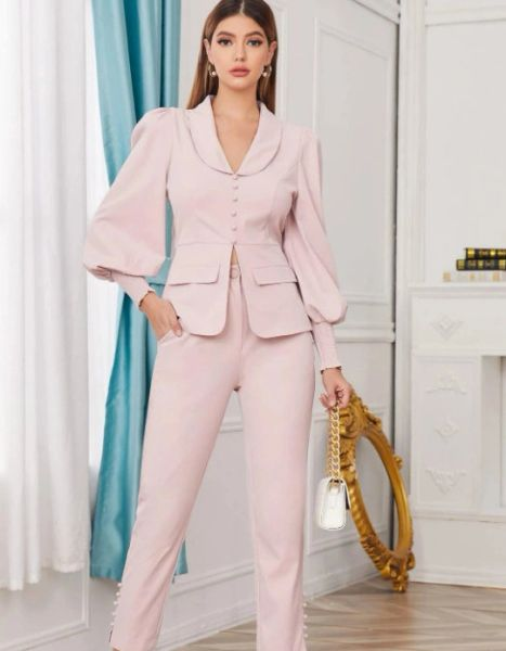 8308 Runway 2021 Designer Dusty Pink Tailored Blazer+ Pants Twinset