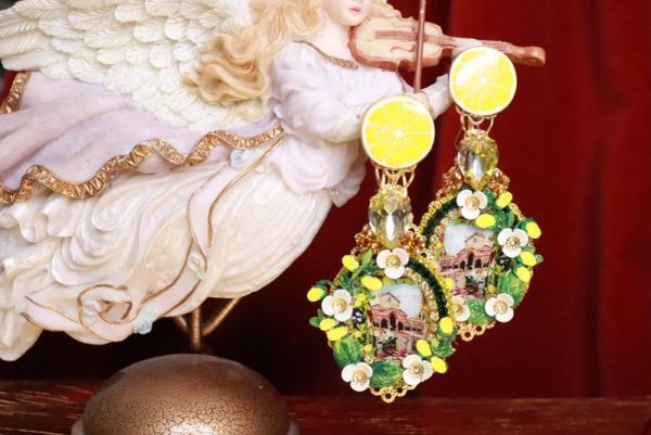 8310 Italian Taormina Cameo Enamel Lemon Fruit Studs Earrings