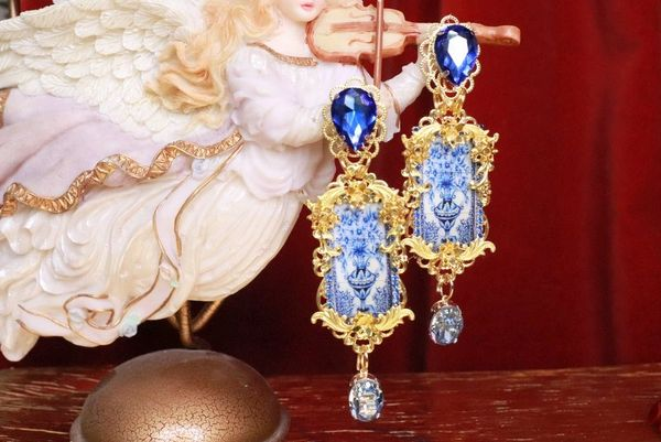 8311 Baroque Sicilian Tile Blue Vase Long Earrings