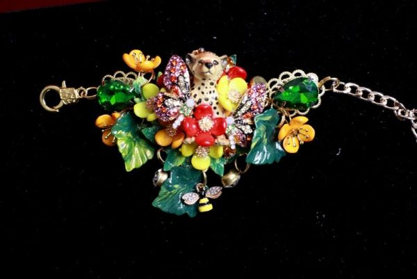 8312 Art Jewelry Baby Leopard Flowers 3D Effect Bracelet