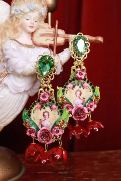 SOLD! 8313 Young Marie Antoinette Dark Flowers Cameo Elegant Earrings