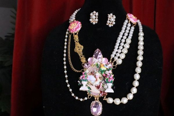 SOLD! 8314 Set Of Marie Antoinette Hand Painted Garden Necklace+ Earrings
