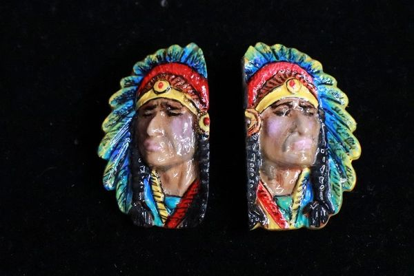 SOLD! 8320 Native American Chief Hand Painted Light Weight Earrings