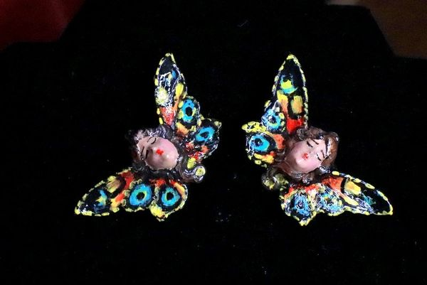 8321 Art Nouveau Lady Butterfly Hand Painted Light Weight Earrings
