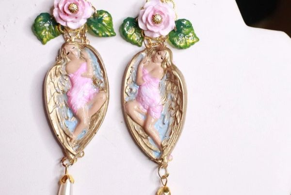 SOLD! 8322 Baroque Winged Goddess Roses Light Weight Studs Earrings