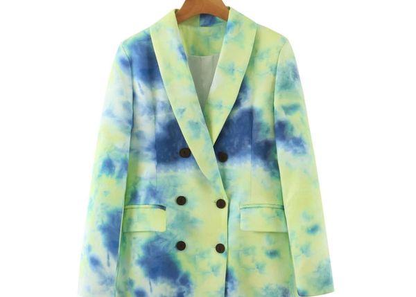 8197 Runway 2021 Designer Collar Double Breasted Tie Dye Blazer