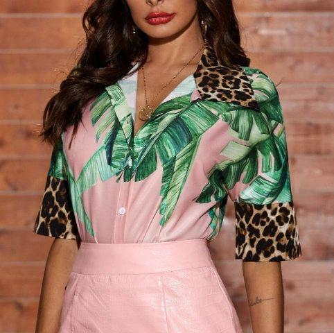 6871 Runway 2021 Tropical Leopard Print Pink Shirt