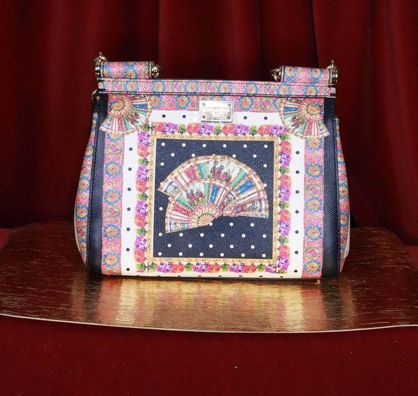 6699 Baroque Genuine Leather Polka Dot Fan Print Handbag
