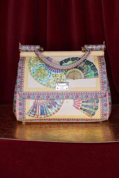 6401 Runway Genuine Leather Baroque Pastel Colors Fan Print Handbag
