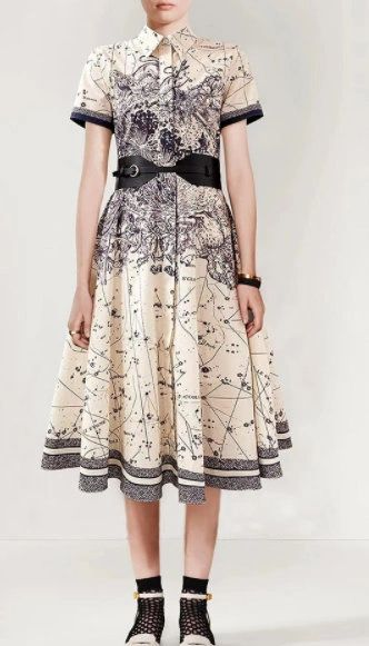 8325 Runway 2021 Celestial Print Mid Cuff Dress