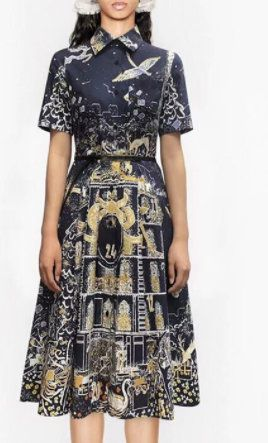 8326 Runway 2021 Birds Town Print Mid Cuff Dress