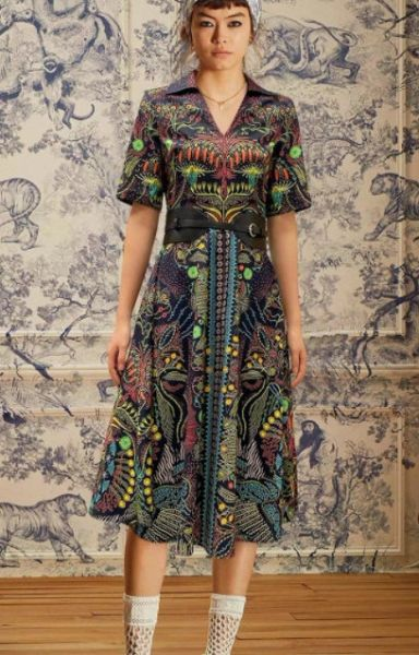 8327 Runway 2021 Mosaic Colorful Print Mid Cuff Dress