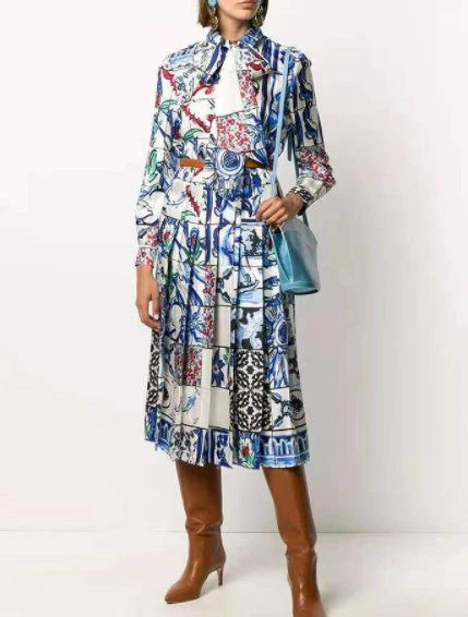 8328 Runway 2021 Mosaic Colorful Print Mid Cuff Dress