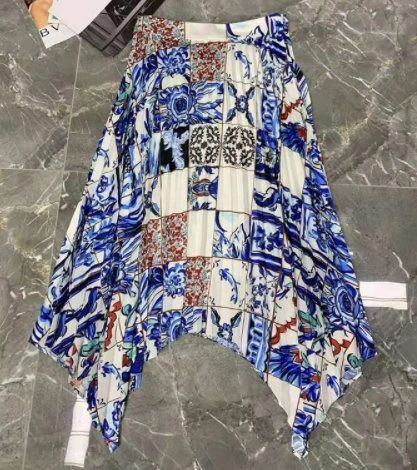 8329 Runway 2021 Mosaic Colorful Print Mid Cuff Skirt