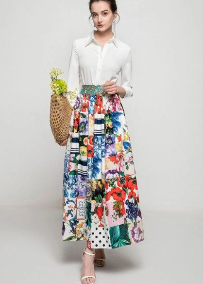 8330 Runway 2021 Mosaic Colorful Print Mid Cuff Skirt