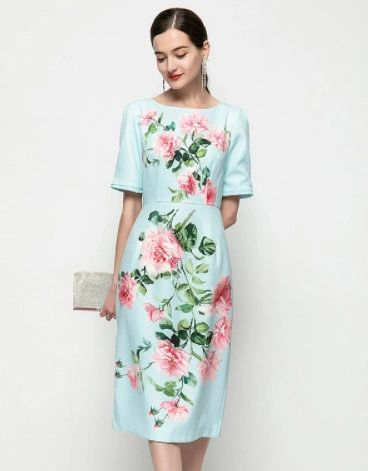 8331 Runway 2021 Flower Print Print Mint Mid Cuff Dress