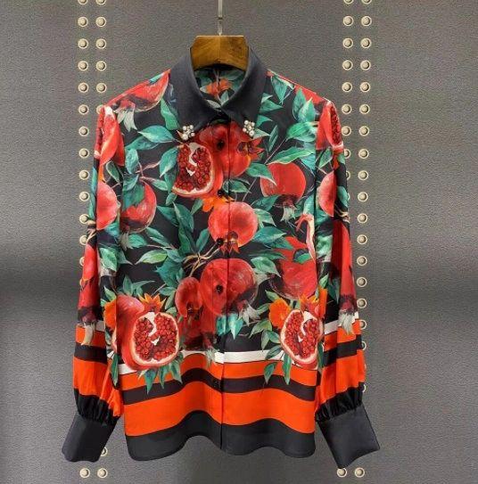 8332 High-End 100% Silk Pomegranate Print Runway 2021 Top Blouse