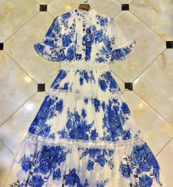 8335 Runway 2021 Blue Sheer Floral Mid Cuff Dress