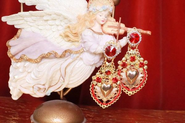 SOLD! 8337 Baroque Sacred Heart Red Light Weight Earrings