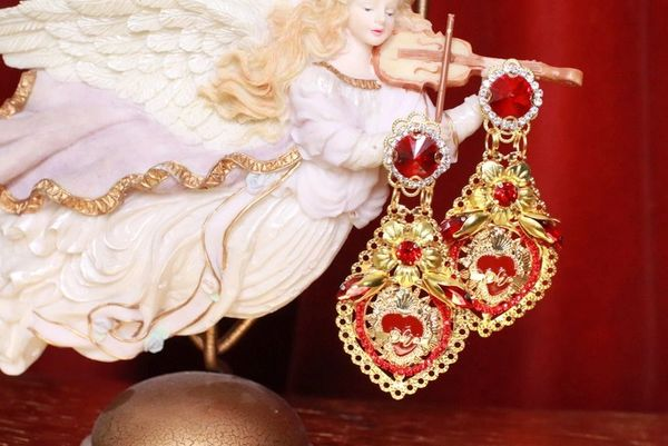 8338 Baroque Sacred Heart Red Light Weight Earrings