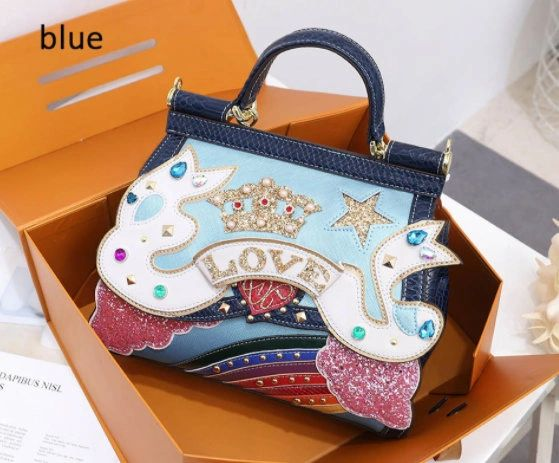 8340 Baroque Fancy Glitter Colorful Embellished Tote Crossbody Blue Handbag