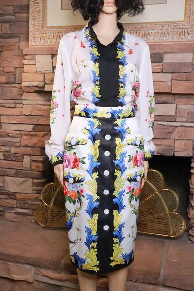 8345 Runway 2021 Designer Tailored Pencil Skirt+ Blouse Twinset US4-6