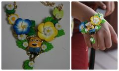 977 BRACELET Minions Kids Flower Embellished Bracelet