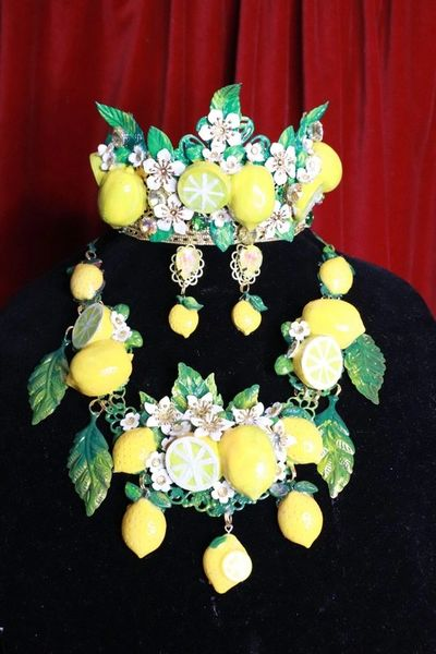 SOLD! 8357 Set Of Baroque 3D Effect Lemon Fruit Bee Statement Necklace+ Earrings