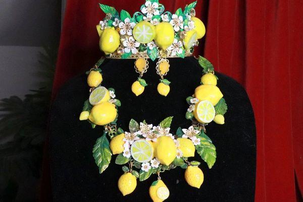8358 Set Of Baroque 3D Effect Lemon Fruit Bee Statement Necklace+ Earrings