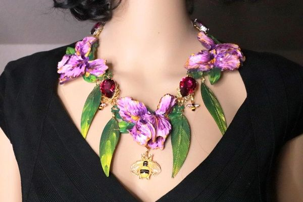 SOLD! 8363 Art Nouveau Vivid Hand Painted Iris Flower Massive Necklace
