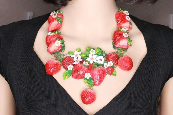 SOLD! 8364 Set Of Art Nouveau Vivid Hand Painted Strawberry Massive Necklace+ Earrings