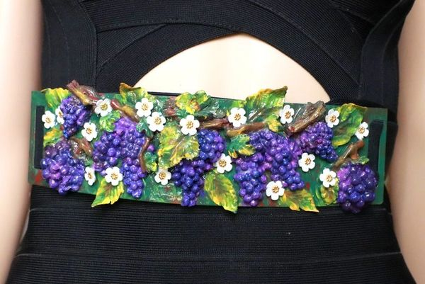 SOLD! 8366 Art Nouveau Grapes Hand Painted Embellished Waist Gold Belt Size S, L, M