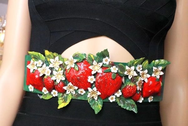 SOLD! 8368 Baroque Strawberry Hand Painted Embellished Waist Gold Belt Size S, L, M