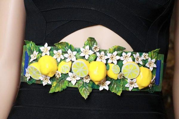 8369 Baroque Runway Sicilian Lemon Fruit Flower Blossom Corset Waist Belt Size S, L, M