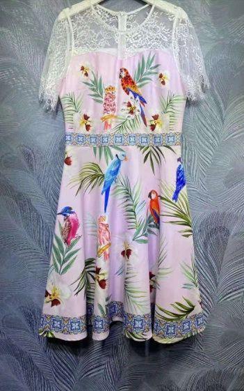 8374 Runway 2021 Parrot Print Knee Length Dress