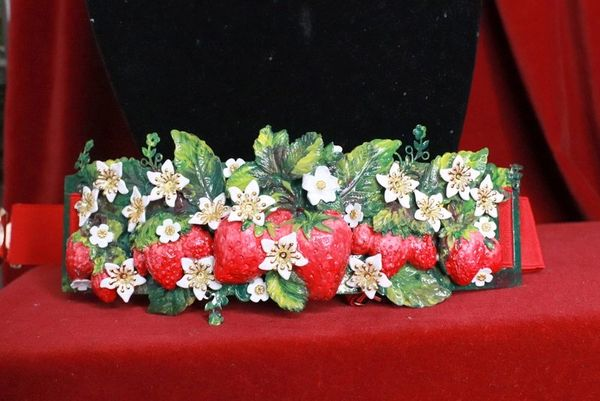 8382 Baroque Strawberry Hand Painted Embellished Waist Gold Belt Size S, L, M