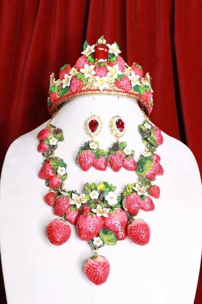 SOLD! 8383 Set Of Art Nouveau Vivid Hand Painted Strawberry Massive Necklace+ Earrings