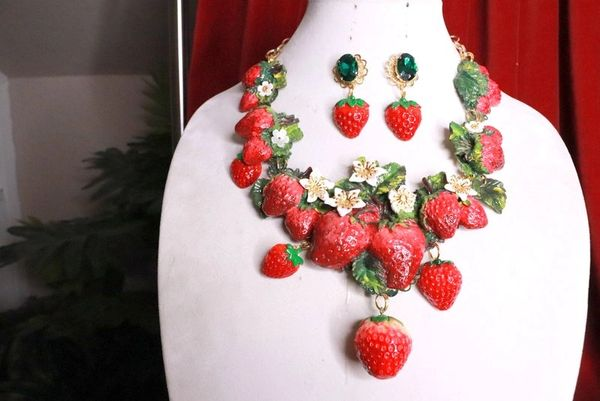 SOLD! 8387 Set Of Art Nouveau Vivid Hand Painted Strawberry Massive Necklace+ Earrings