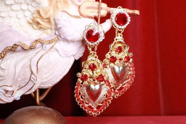 8389 Baroque Sacred Heart Red Light Weight Earrings