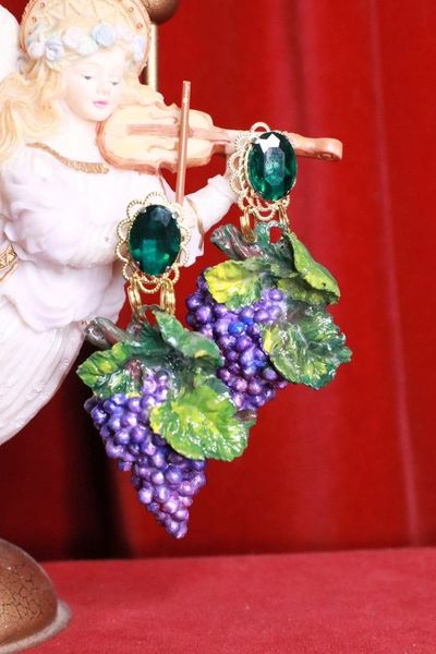 8390 Baroque Vivid Grapes Hand Painted Earrings