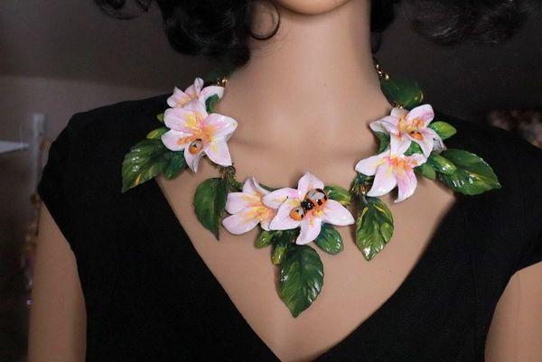 8391 Art Nouveau Vivid Hand Painted Lily Massive Necklace