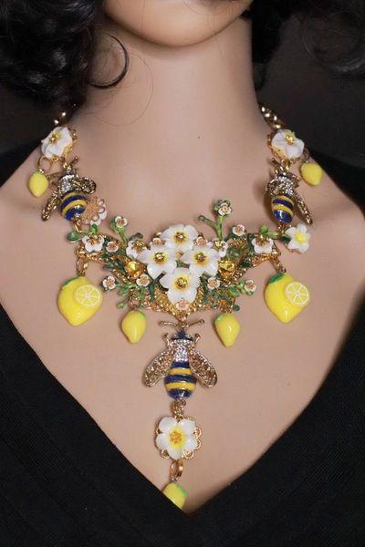 8392 Set Of Baroque Runway Enamel Bee Lemon Fruit Necklace+ Earrings
