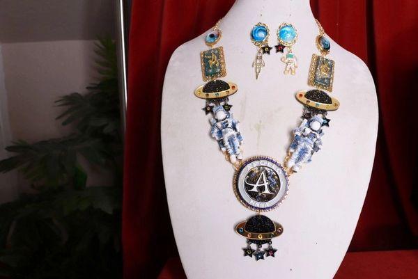 8400 Set Of Celestial NASA Astronauts Iridescent Necklace+ Earrings