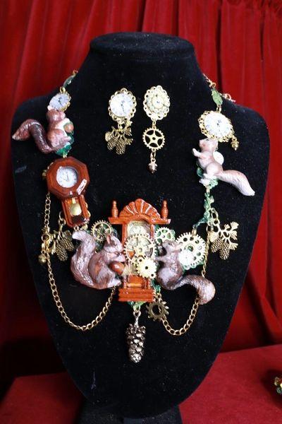 SOLD! 8403 Set Of Art Jewelry 3D Effect Squirrel Clock Oak Necklace+ Earrings