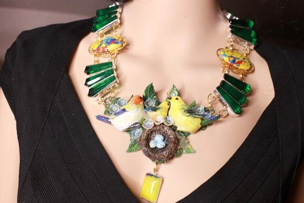 8404 Set Of Art Jewelry 3D Effect Genuine Tourmaline Bird's Family Necklace+ Earrings